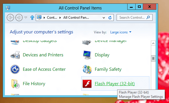 Скачать Flash Player для Windows 8